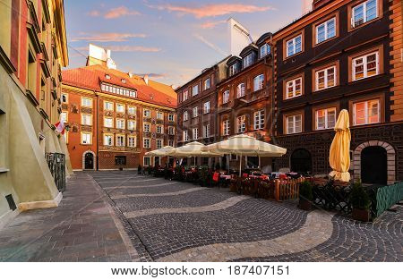 vintage streets in the old town of Warsaw. Poland.
