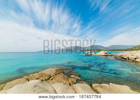 Cirrus clouds over Spiaggia del Riso. Sardinia Italy