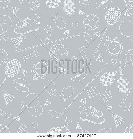 Seamless Pattern On The Sports Theme. Vector Illustration Sports And Fitness Equipment.