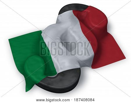 paragraph symbol and flag of italy - 3d rendering