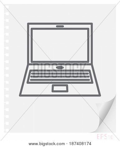 Vector linear illustration of a laptop on a sheet of paper with a curved corner and holes from springs school line icon.