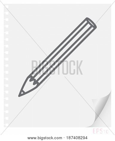 Vector linear illustration of a pencil on a sheet of paper with a curved corner and holes from springs a school line icon.