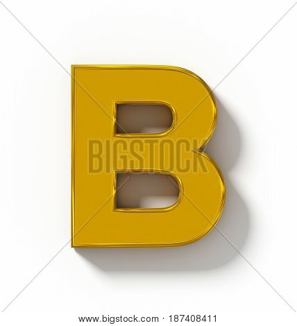 Letter B 3D Golden Isolated On White With Shadow - Orthogonal Projection