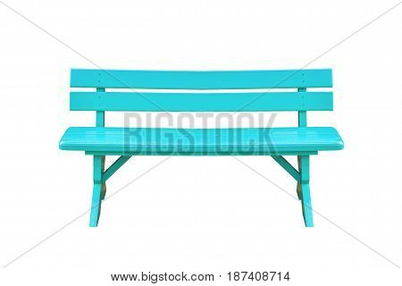 cyan wood bench isolated on white background with clipping path.
