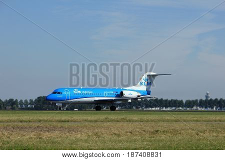 Amsterdam the Netherlands - August 18th 2016: PH-KZD KLM Cityhopper Fokker F70 taking off from Polderbaan Runway Amsterdam Airport Schiphol