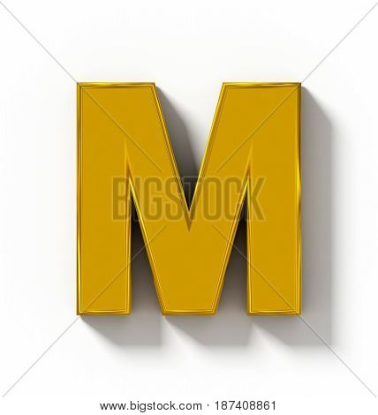 Letter M 3D Golden Isolated On White With Shadow - Orthogonal Projection