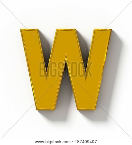 Letter W 3D Golden Isolated On White With Shadow - Orthogonal Projection
