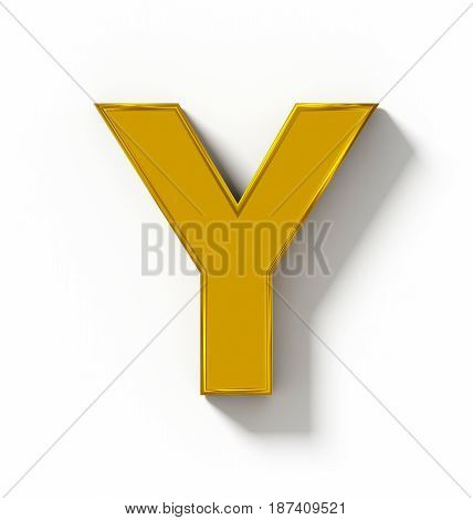 Letter Y 3D Golden Isolated On White With Shadow - Orthogonal Projection