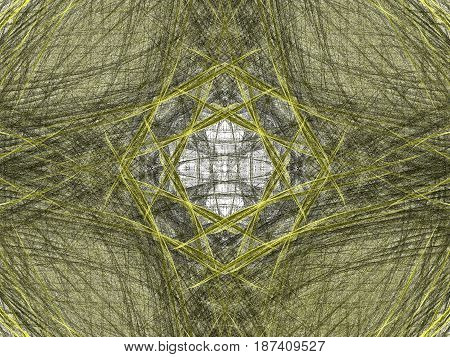 Abstract Grunge Dirty Yellow Symmetrical Pattern