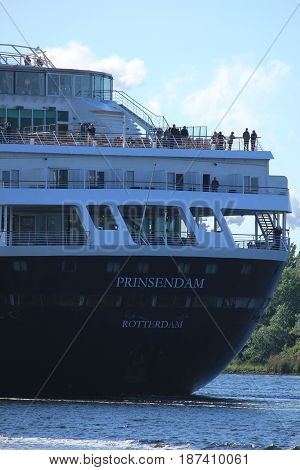 Velsen the Netherlands - May 20th 2017: MS Prinsendam detail of stern