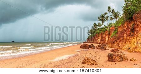 panoramaRed Bank District or Red Beach (Fang Daeng) a beautiful natural attraction in Bang Saphan Noi Prachuap Khiri Khan Thailand Amazing Thailand