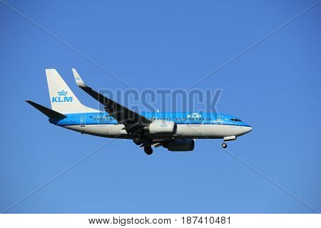 Amsterdam the Netherlands - May 20th 2017: PH-BGL KLM Royal Dutch Airlines Boeing 737 approaching Schiphol Polderbaan runway