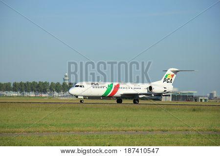 Amsterdam the Netherlands - June 9th 2016: CS-TPF Portugália Fokker F100 takeoff fro Polderbaan runway destination Porto Portugal