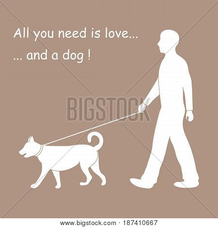 Silhouette Of A Man Walking A Dog On A Leash. Design Element For Postcard, Banner, Flyer.