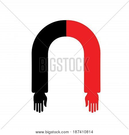 Black and red horseshoe magnet with human hands. Metaphor of attraction. Vector illustration
