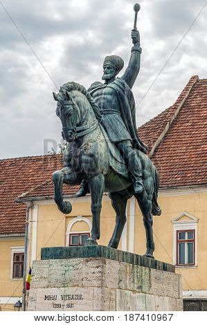 ALBA IULIA ROMANIA - APRIL 29 2017: Bronze statue depicting the king Mihai Viteazul ( Michael the Brave) standing on his horse in Alba Iulia Citadel square.