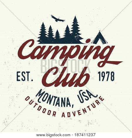 Camping club. Vector illustration. Concept for shirt or logo, print, stamp or tee. Vintage typography design with tent, mountains and Camper trailer silhouette.