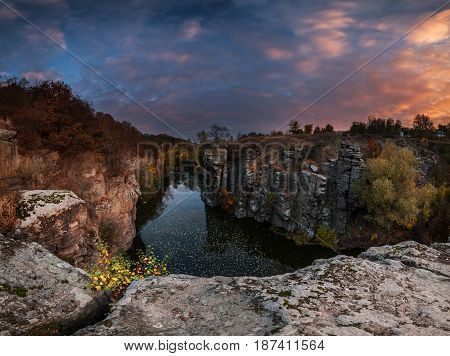 Autumn Sunrise Over River In Canyon