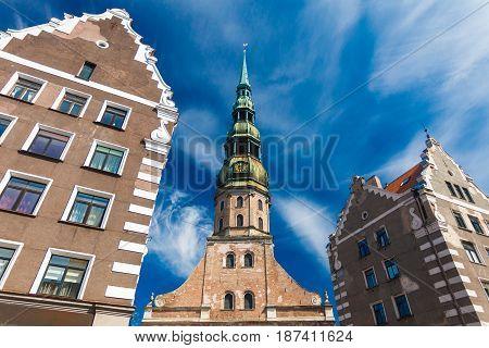 RIGA LATVIA - MAY 06 2017: Buildings in Old Town in Riga Latvia