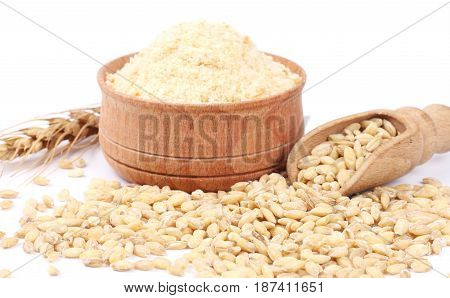 Bowl of breadcrumbs isolated on white background