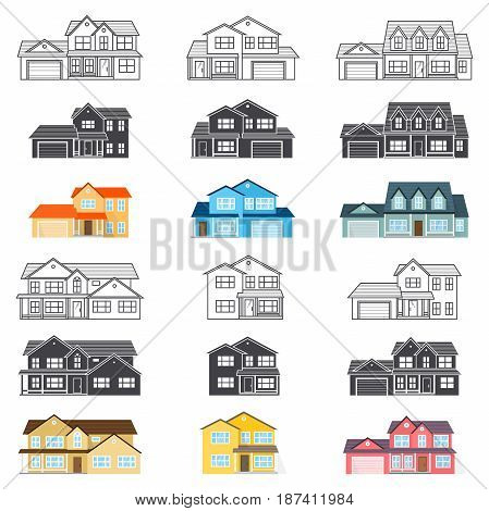 Set of vector thin line and silhouette icon suburban american houses. For web design and application interface, also useful for infographics. Vector illustration.