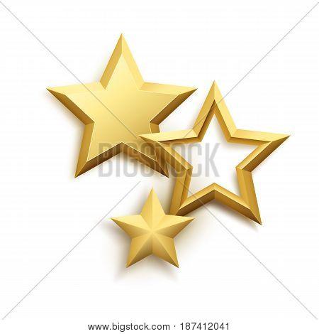 Realistic metallic golden star background. Vector illustration EPS10