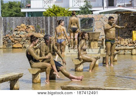 TURKEY, MUGLA ,DALYAN, - 5 MAY , 2017:People take mud baths to improve the condition of the skin and strengthen the immune system