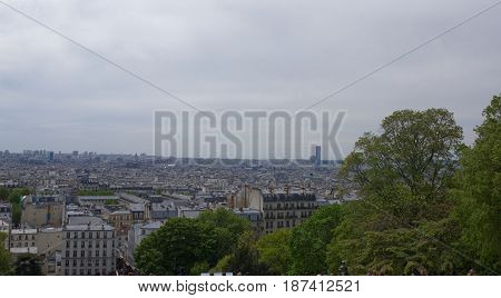 View of Paris from the top of the hill of Montmartre