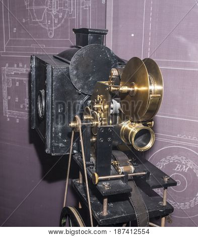 ParisFrance- May 062017: Projector of 35 mm films