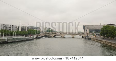 Paris. The Bercy Bridge on the River Seine