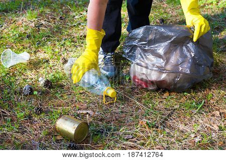 Woman picks up garbage in a forest park area