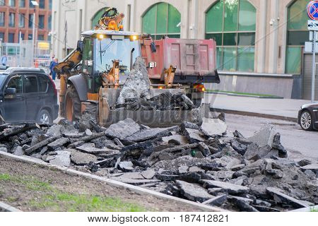 Moscow, Russia, 19 may 2017: workers dismantled the old asphalt