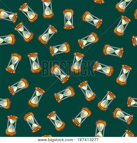 Sandclock Seamless Pattern Isolated on Green Background