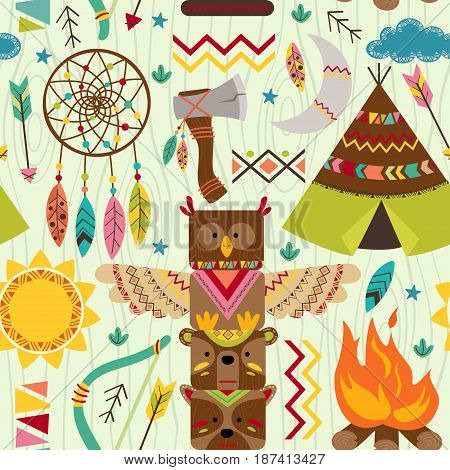 seamless pattern with tribal elements - vector illustration, eps