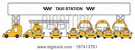 Urban taxi station concept with yellow cars cabs minivans and buses on parking vector illustration