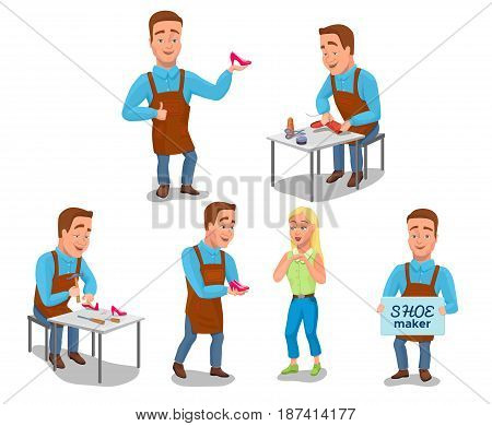 Shoemaker cartoon characters set with cobbler tools set colorful vector illustration including sewing, repairing workers