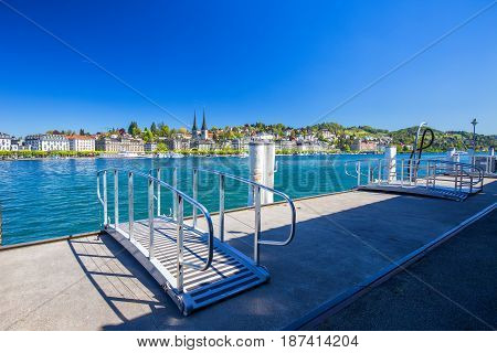 LUCERNE SWITZERLAND - Mai 2016 - Harbor in Lucerne city with the view of Lucerne lake and promenade.