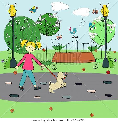 Sketch colorful summer city park template with girl walking dog trees flowers singing birds butterflies bench lanterns vector illustration