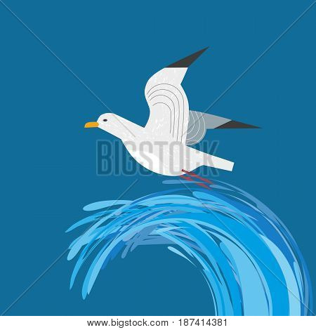 Sea gull icon. Freehand cartoon style. Seabird marine symbol isolated. Stylized nautical animal emblem. Element for project banner background. Vector design of advertisement label