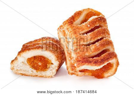 Puff pastry with jam isolated on white