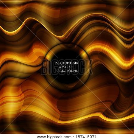 Abstract bright background of distorted wave forms. Shades of gold. Color transitions. Space for text.