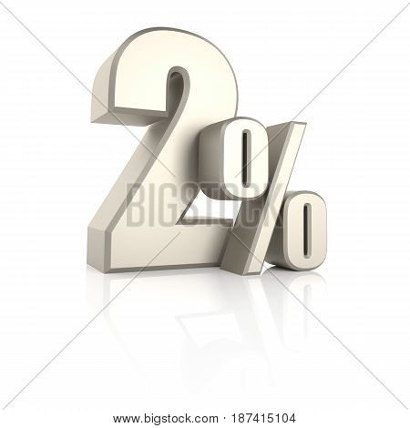 2 percent isolated on white background. 3d render