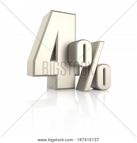 4 percent isolated on white background. 3d render