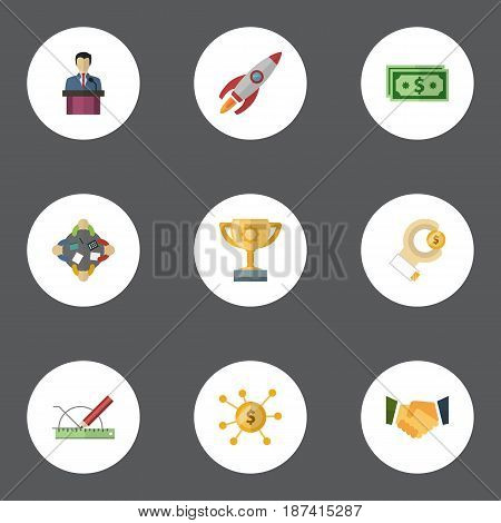 Flat Rocket, Design, Cash And Other Vector Elements. Set Of Startup Flat Symbols Also Includes Prompting, Businessman, Consideration Objects.