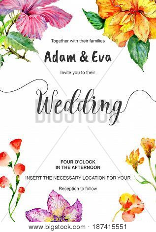 Wedding invitation DiY template flower handmade watercolor illustration. Aquarelle romantic wedding templates for save the date, invitation, rsvp, direction, place cards, accommodation or reception.