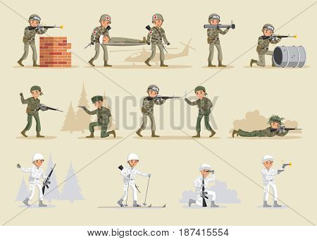 Military army collection with soldiers wearing different uniforms in various situations isolated vector illustration