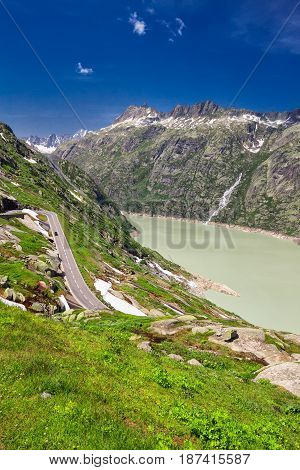 Panoramic Mountain Road Leading To Grimselpass With Grimselsee,