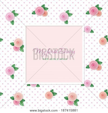 Elegant template design. Square frame with sample text. Seamless pattern with roses. For wedding, scrapbook, photoframe, notebook cover. Vector