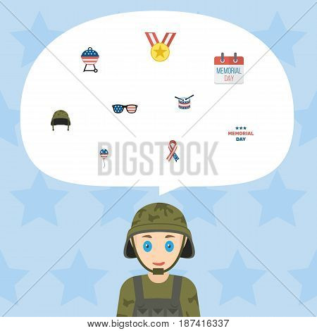 Flat Awareness, Soldier Helmet, Spectacles And Other Vector Elements. Set Of History Flat Symbols Also Includes Bbq, Decoration, Award Objects.