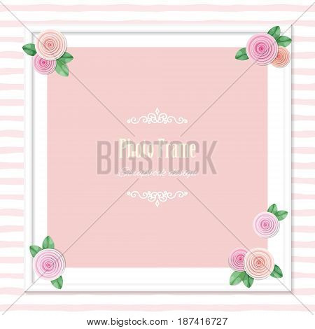 Elegant square photo frame decorated with roses on striped background. Wedding, baby shower, scrapbook album page template. Girly. Vector